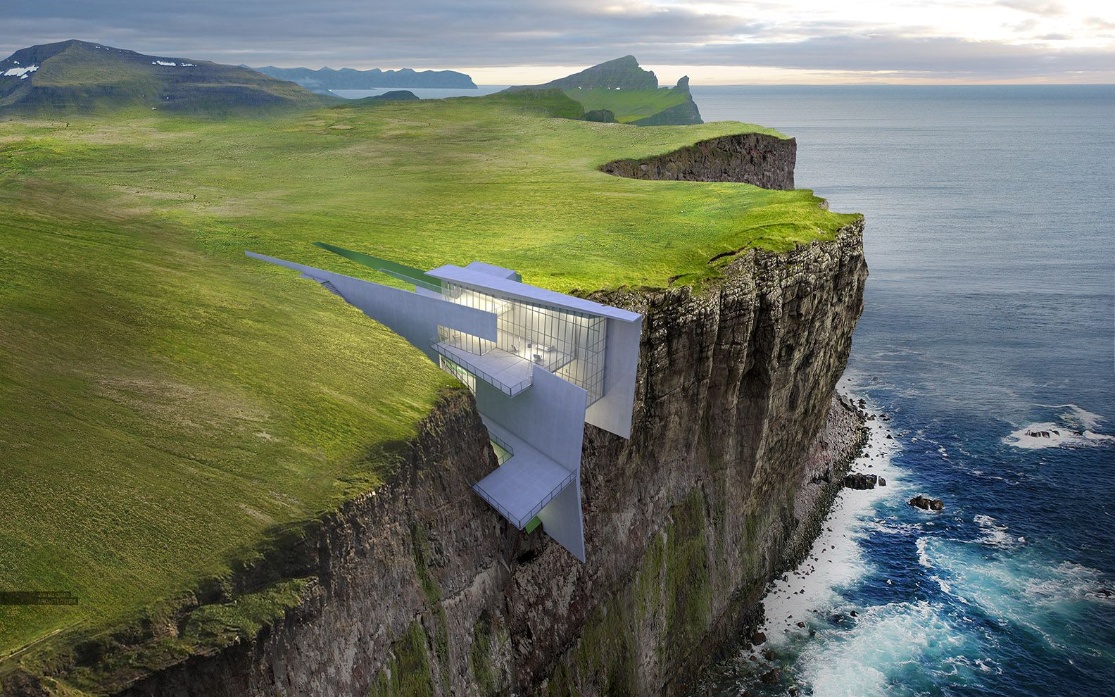 Incredibly Compelling Cliffside House By Visualizing Architecture - This architects stunning concept home hangs from a cliffside in iceland