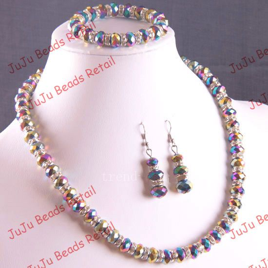 hand made Necklace Bracelet and Earring Sets | Aliexpress.com : Buy Free Shipping!Wholesale 3 sets Handmade Rainbow ...