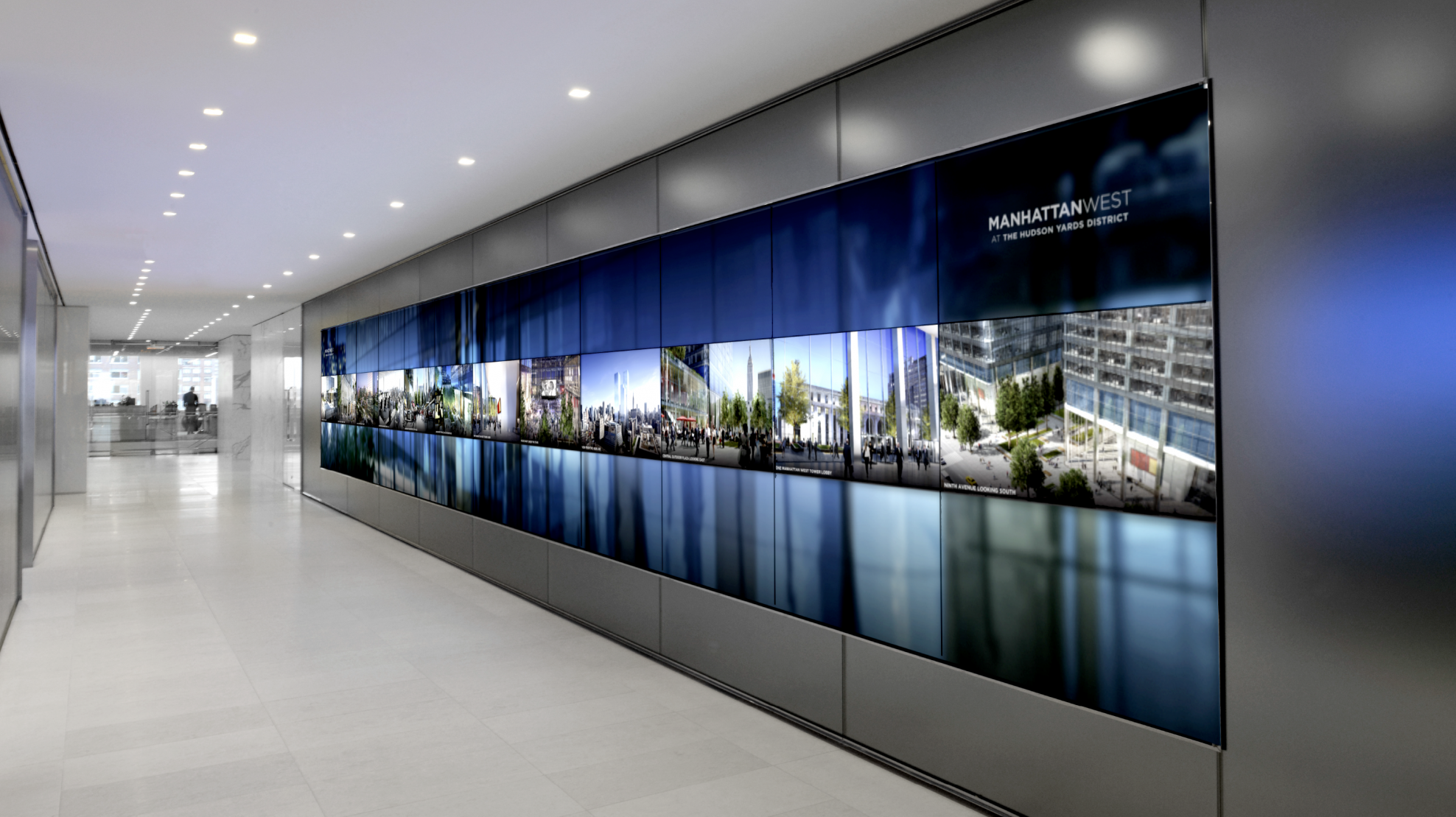Brookfield place media wall union design p g windows for Office design exhibitions