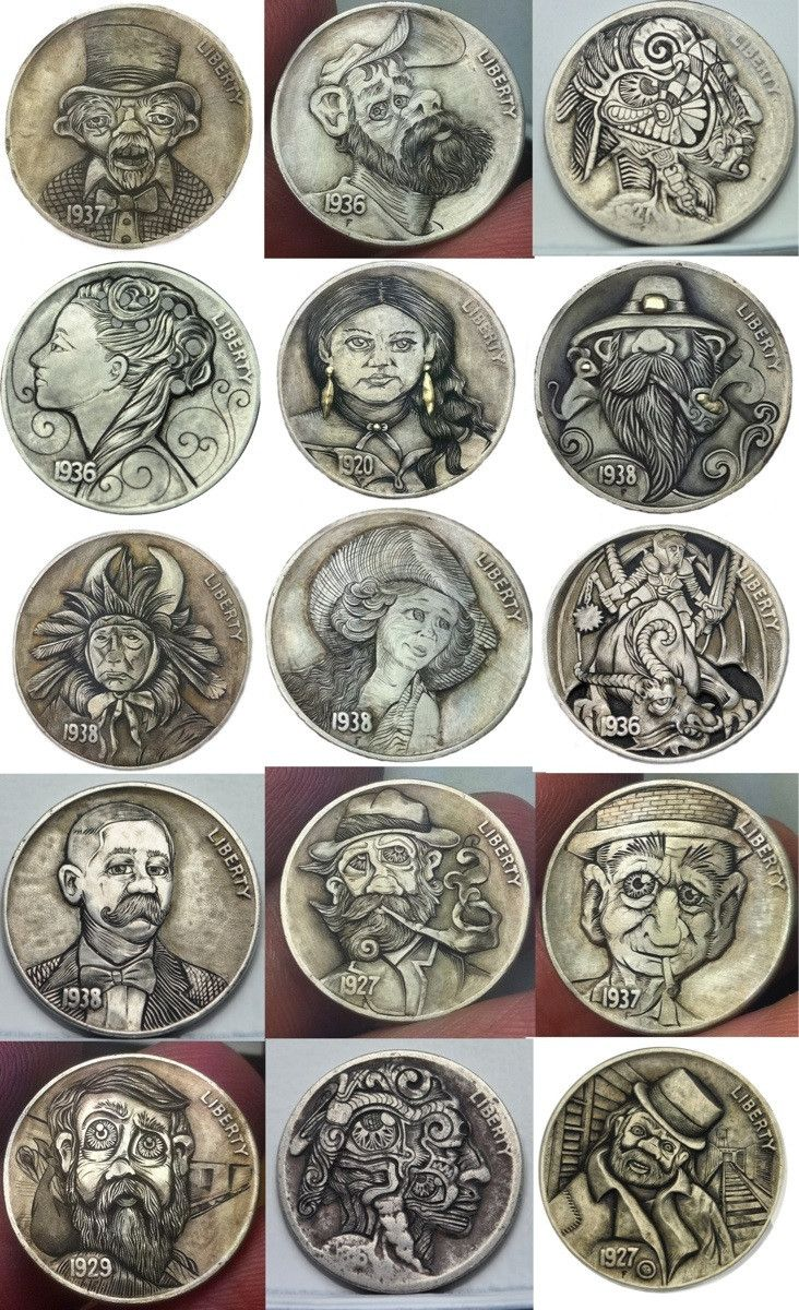 I carve Hobo Nickels for fun, here is15 of them  | hobos in