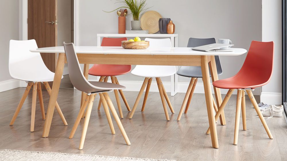 Aver Oak And White Extending And Finn Dining Set Colored Dining