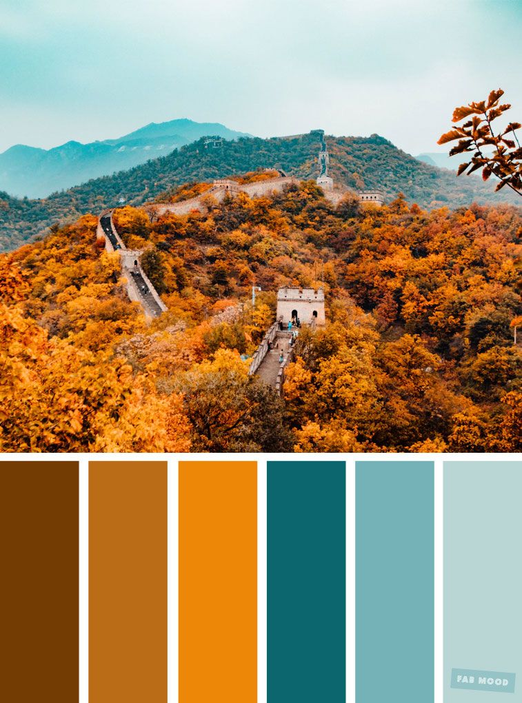 59 Pretty Autumn Color Schemes { Shades of autumn leaves + blue teal } - Fabmood | Wedding Colors, Wedding Themes, Wedding color palettes #fallcolors
