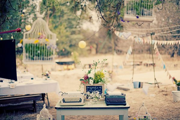 Birdcages and typewriters.