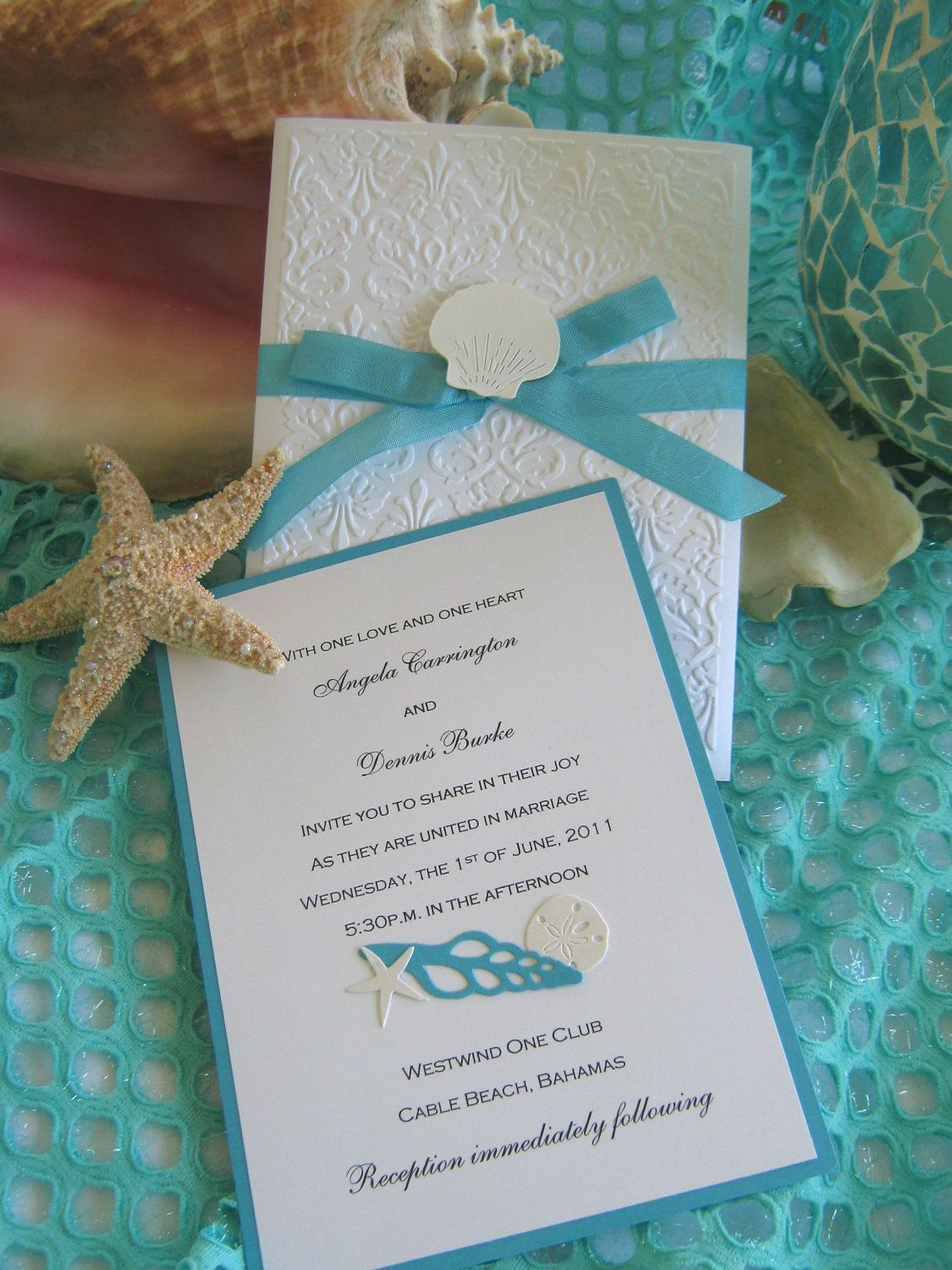 Seashell and Lace Beach Wedding Invitation by