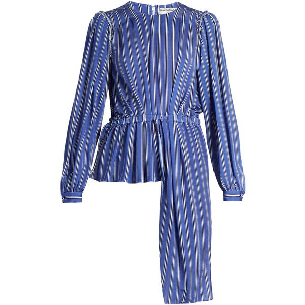 Striped jersey blouse Balenciaga MATCHESFASHION.COM (€1.010) ❤ liked on Polyvore featuring tops, blouses, blue striped top, striped jersey, stripe blouse, blue blouse and blue top