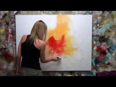 """Démonstration de peinture abstraite (5) Elisabeth - Toile """"Fiction"""" - YouTube"""