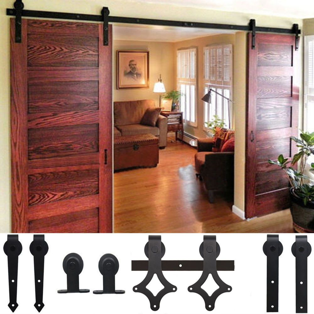 Wood 5 12 Ft Double Antique Sliding Barn Door Hardware Rustic Roller Track Kit Barn Doors Sliding Barn Door Hardware Interior Barn Doors Barn Door Hardwa