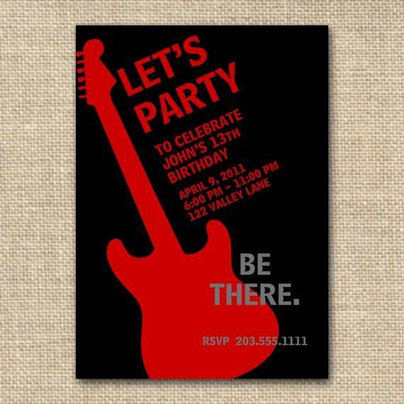 Tarjeta De Invitacion Para Tu Cumple Rockero Tarjetas De