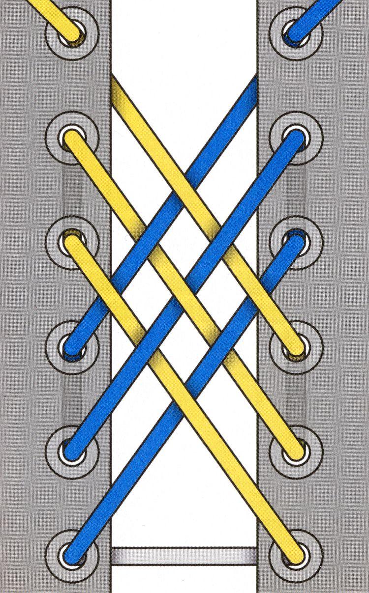 schnrsenkel einfdeln gitterschnrung muster motiv techniken binden - Schnursenkel Binden Muster