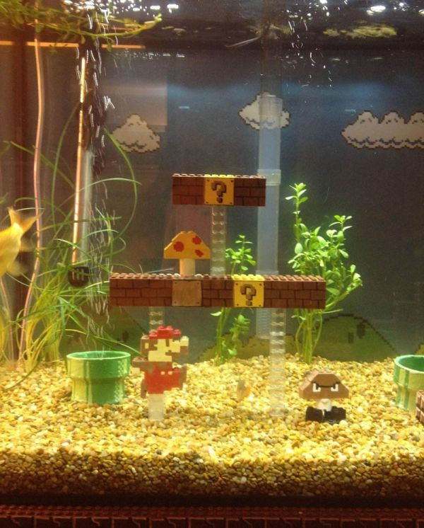Super Mario Bros. aquarium fish tank. Notice, the decor is made from Legos