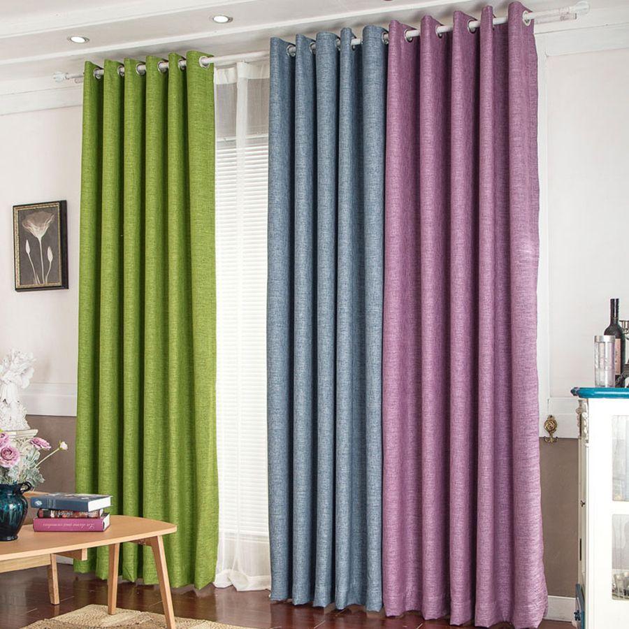 Thick Solid Cotton Curtain Fabric Modern Minimalist Custom Linen