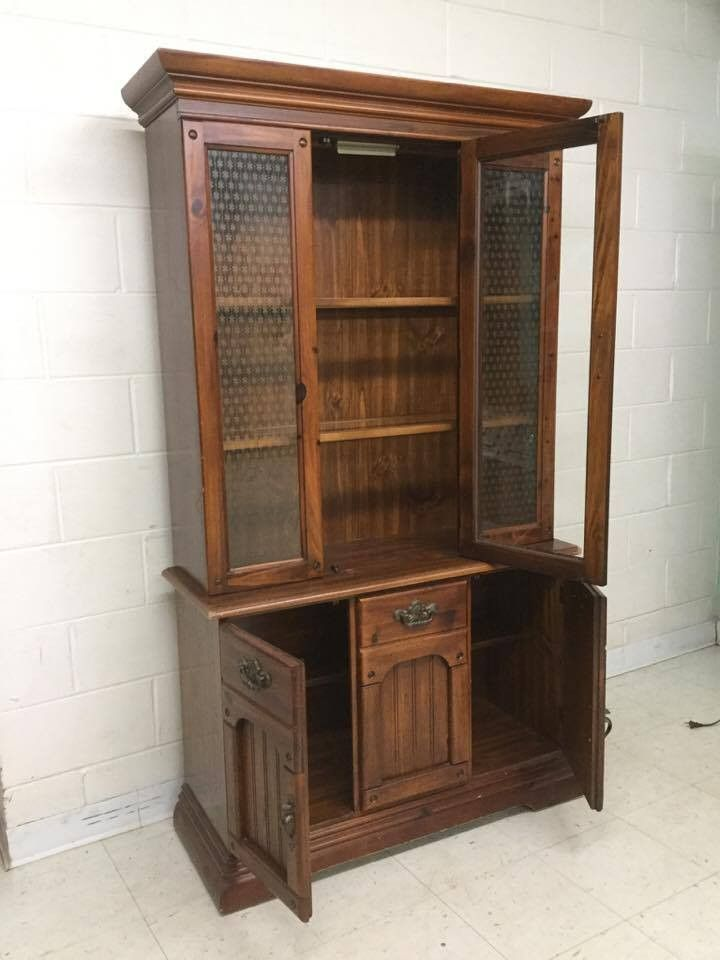 90's cherry wood hutch.