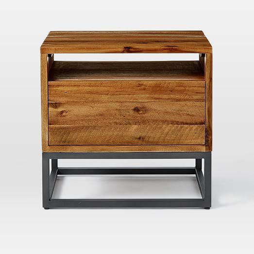 Logan Industrial Nightstand Natural Wood And Metal Metal Nightstand Nightstand