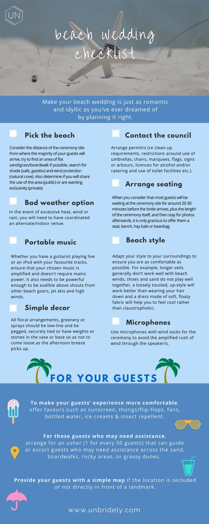 Unbridely  Beach Destination Wedding Checklist  Weddings
