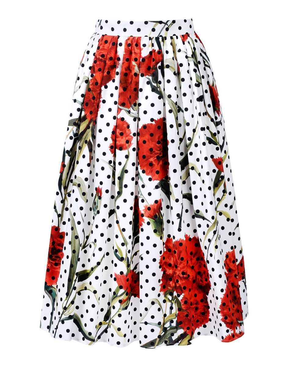 Dolce & Gabbana Polka Dot & Carnation Print Skirt