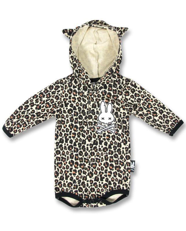 Six Bunnies Baby Tan Leopard Print Bunny w//Crossbones Romper Rockabilly
