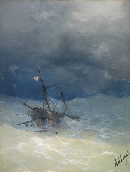 Sinking Ship - Ivan Aivazovsky | Ship tattoo, Stormy sea, Ship