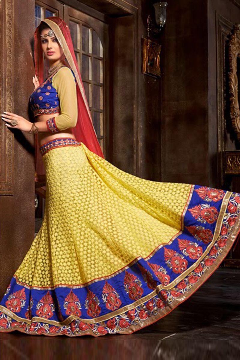 Yellow cotton saree for wedding yellow color designer bridal lehnga choli from hdbazaar  bridal