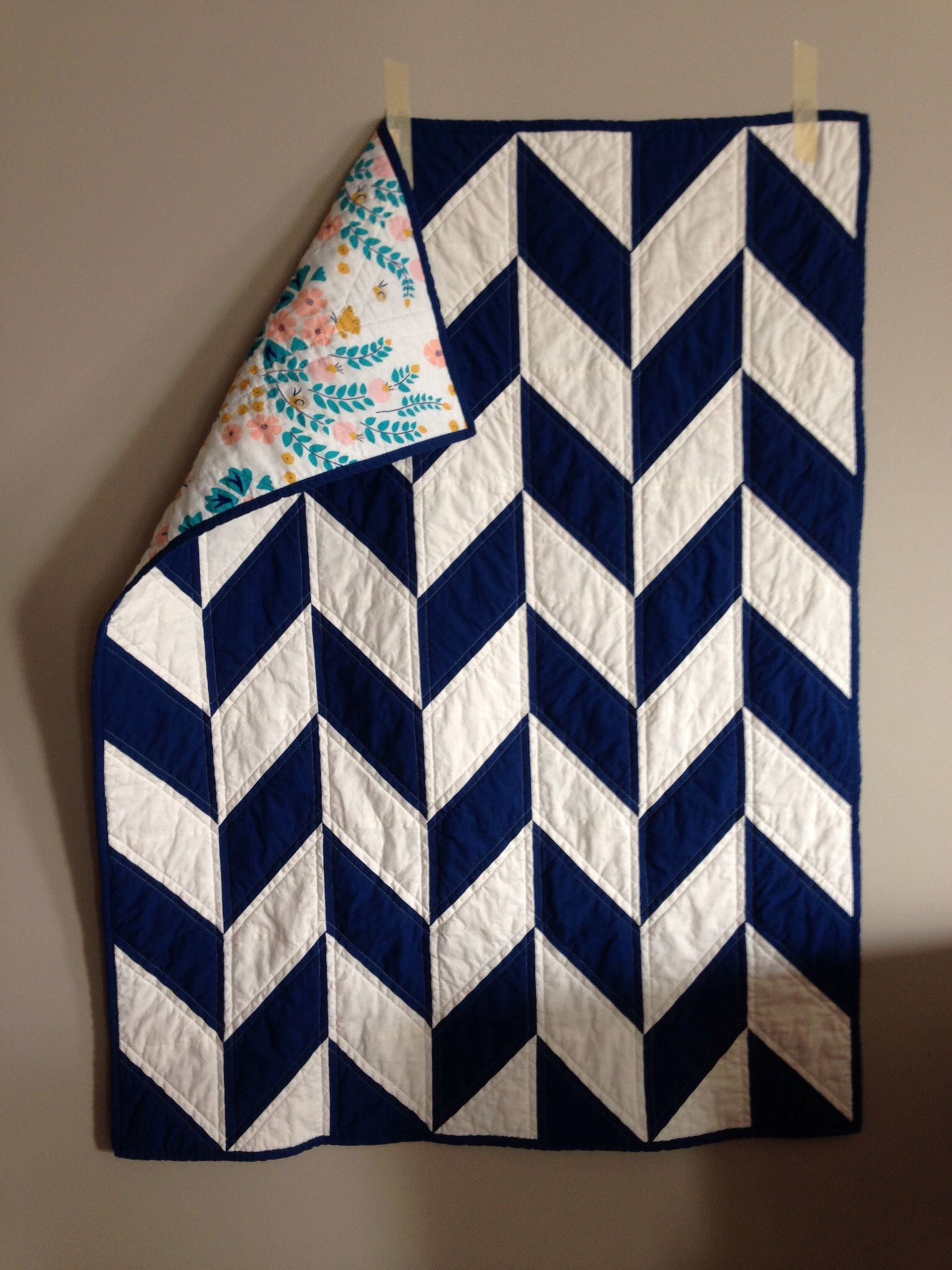 Navy Herringbone Baby Quilt
