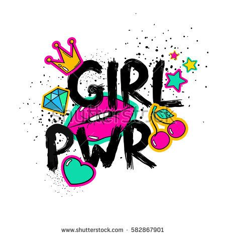 Feminism slogan with hand drawn lettering girl power colorful fun girly stickers patches pins in cartoon comic style buy this stock vector on