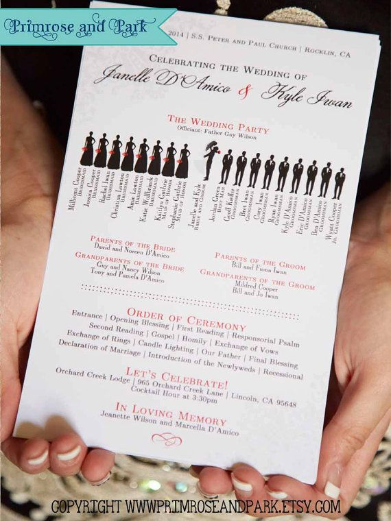 Wedding Ceremony Program Printable Silhouette Programs