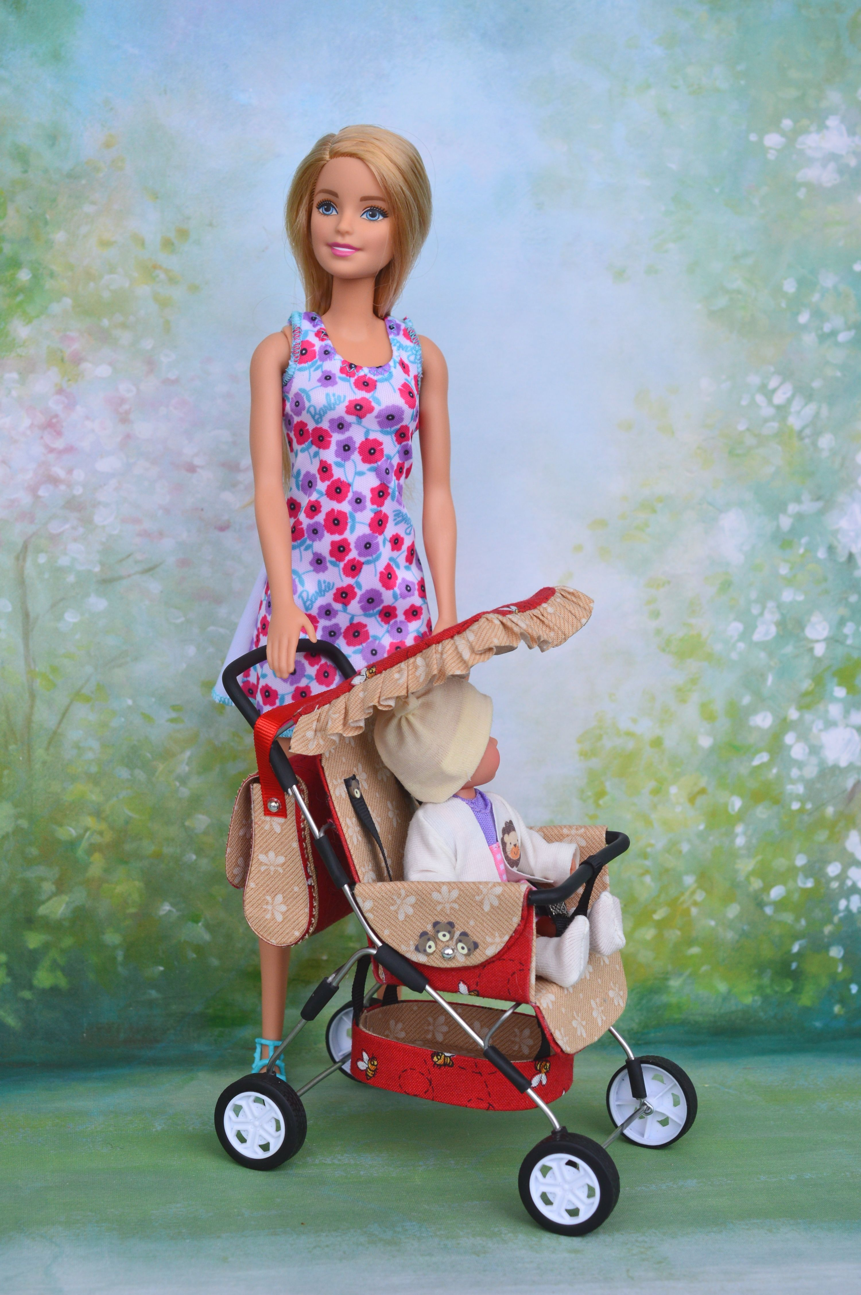 Summer stroller for a doll baby in a scale of 1 6
