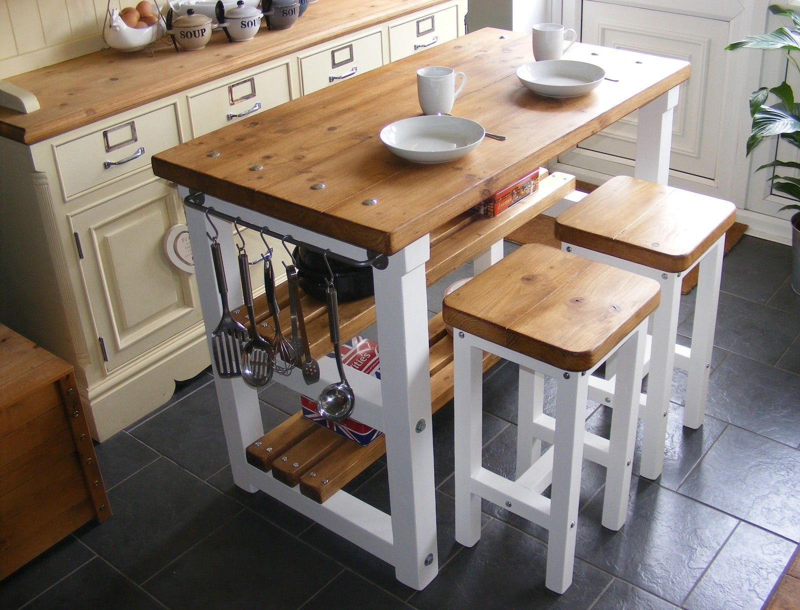 Rustic Kitchen Island Breakfast Bar Work Bench Butchers Block With 2 Stools Stools For Kitchen Island Rustic Kitchen Island Butcher Block Island Kitchen