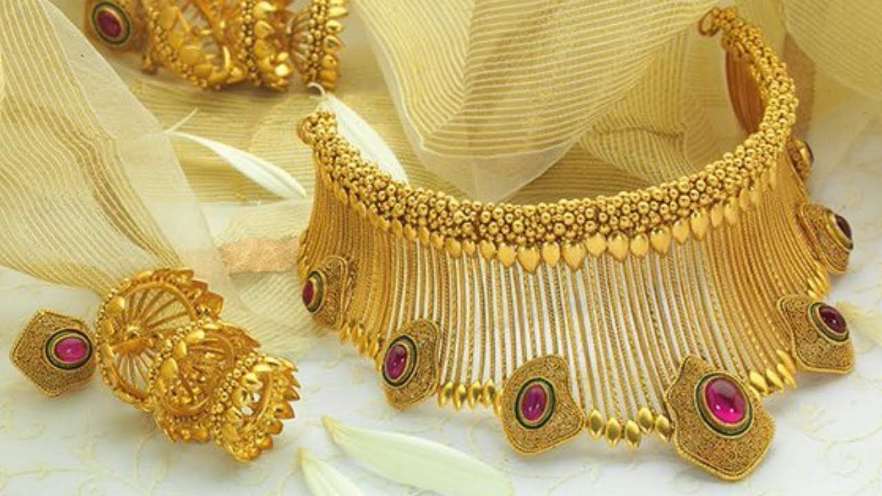 Latest Gold Necklace Designs Gold Haram Necklace Chain Designs Gold Jewelry Collection Gold Jewelry Fashion Jewelry Design Necklace Gold Necklace Designs