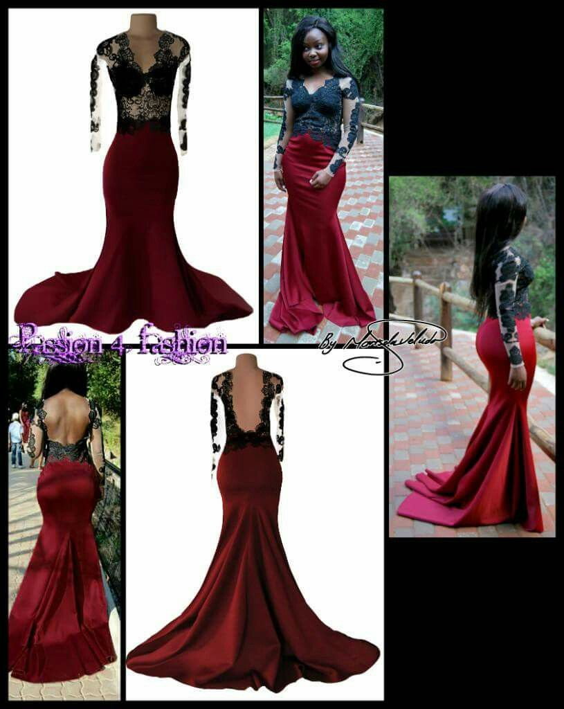 331755a824db Maroon & black lace bodice mermaid matric dance dress, with a low open  back. Long sleeves and a V neckline with a train.