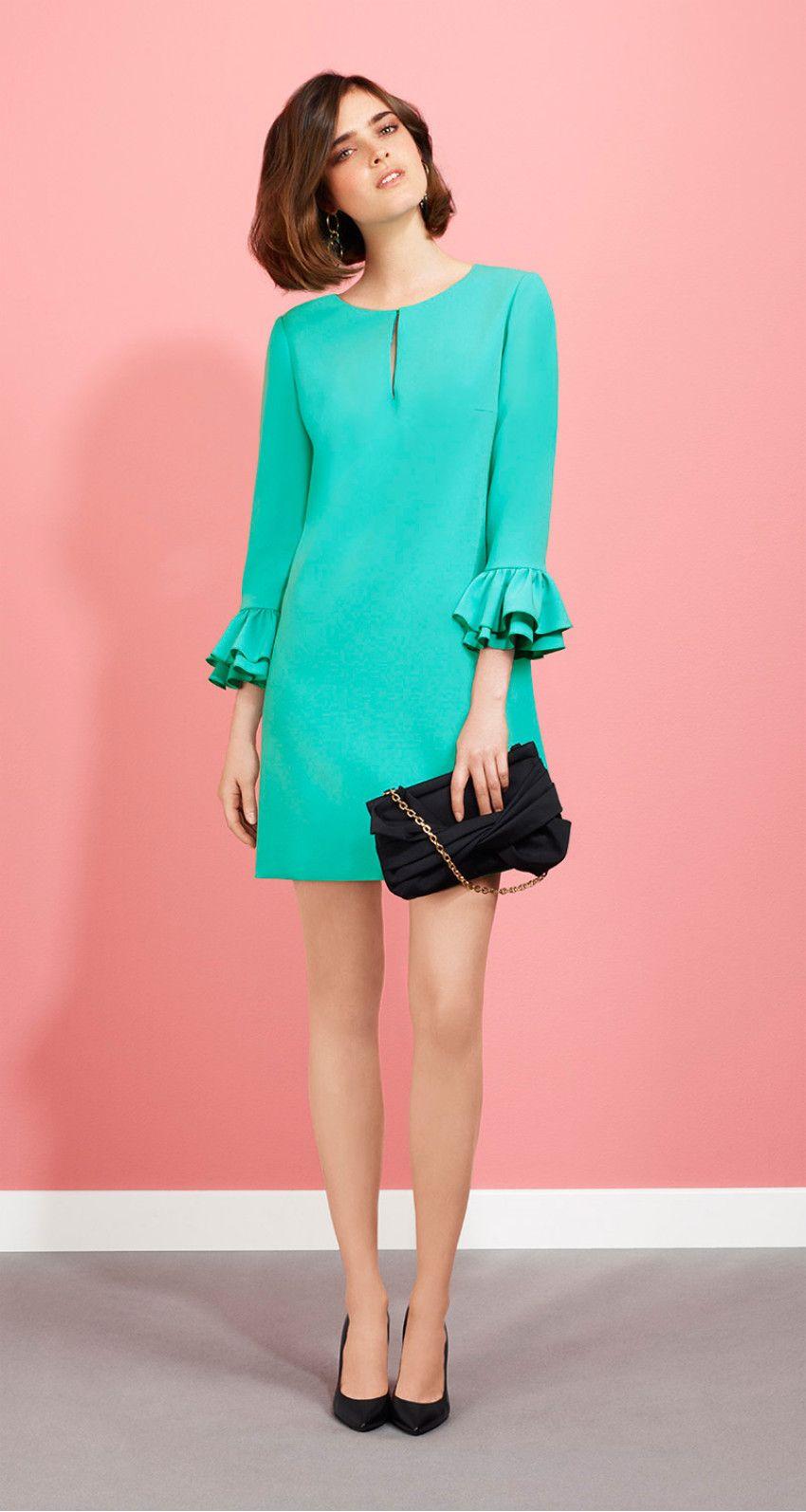 vestido verde turquesa corto manga larga | vestidos | Pinterest ...