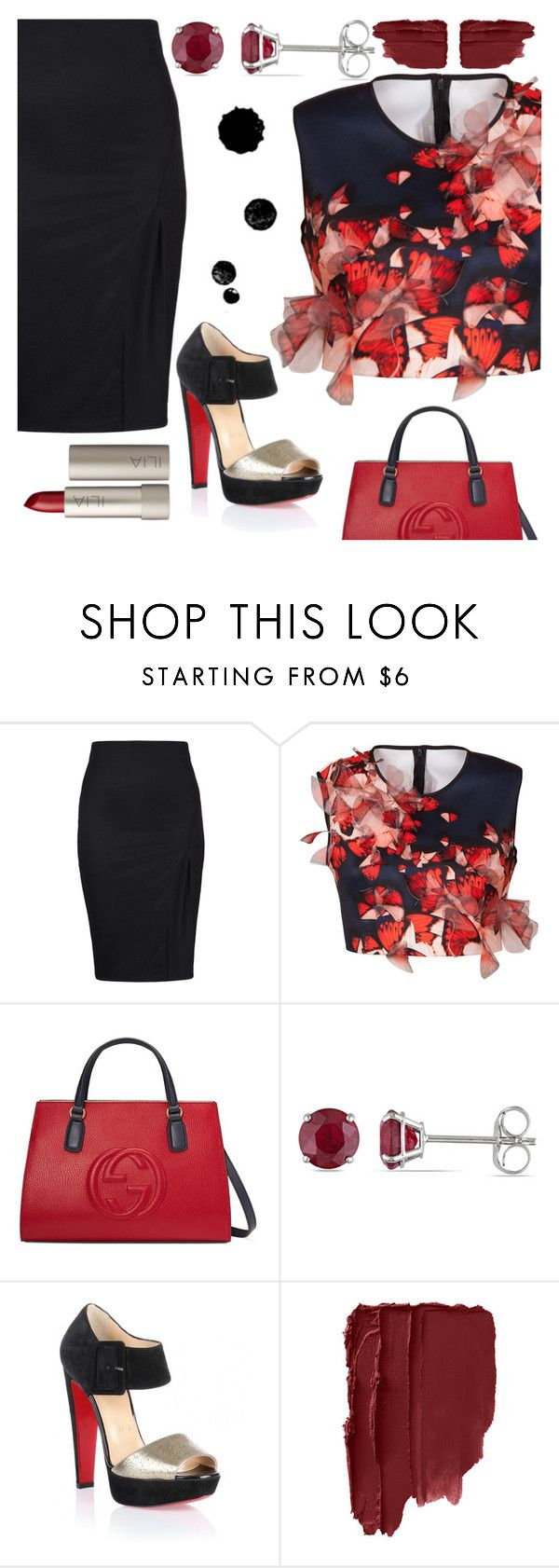 """Untitled #150"" by panaitteo ❤ liked on Polyvore featuring Clover Canyon, Gucci, Allurez, Christian Louboutin and Ilia"