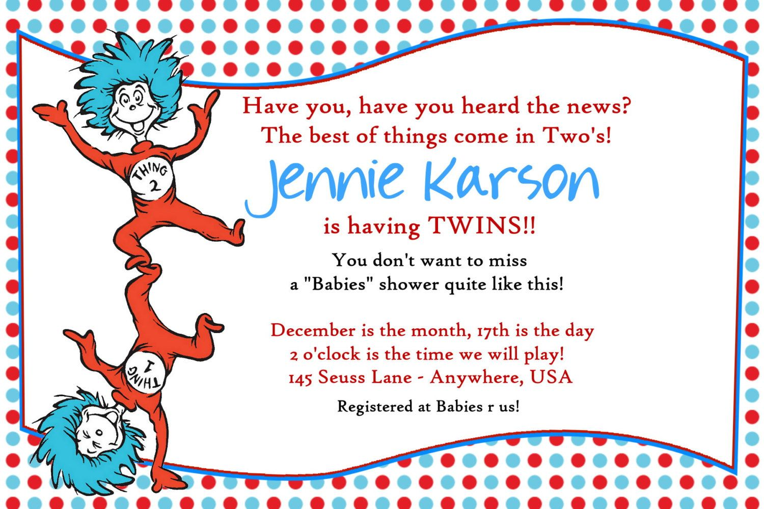 Dr Seuss Thing 1 and 2 Twins Baby Shower by Createphotocards4u ...