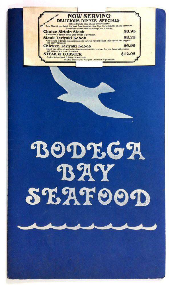 Details About 1970 S Vintage Menu Bodega Bay Seafood Restaurant