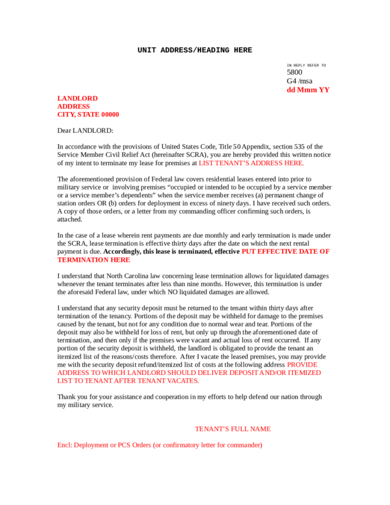 5 Commercial Lease Termination Letter Templates Word Excel