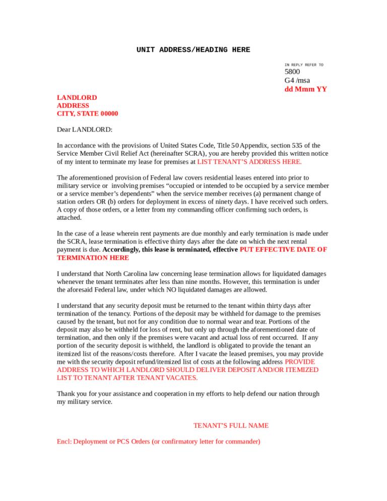 5+ Commercial Lease Termination Letter Templates Letter