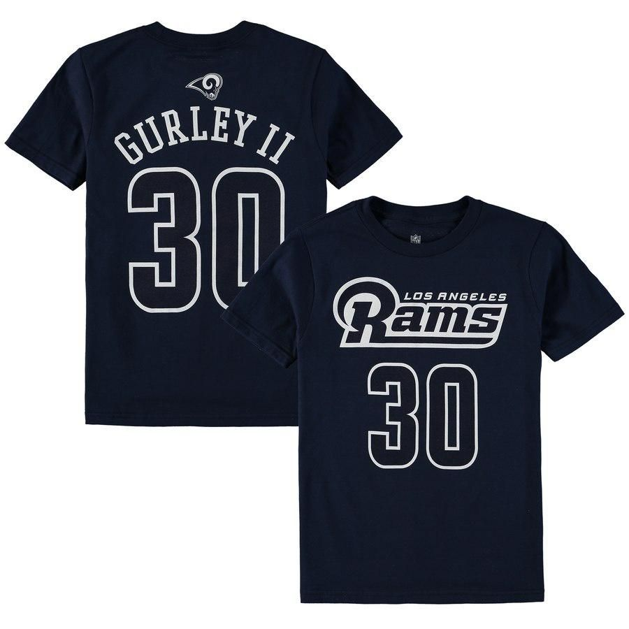 newest c2b2f 68e7f Youth Los Angeles Rams Todd Gurley II Navy Mainliner Name ...