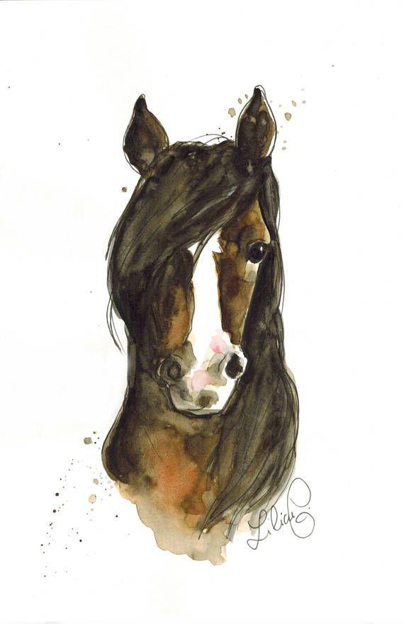 Moka Das Pferd Original Aquarell Aquarellpferd Aquarell Und