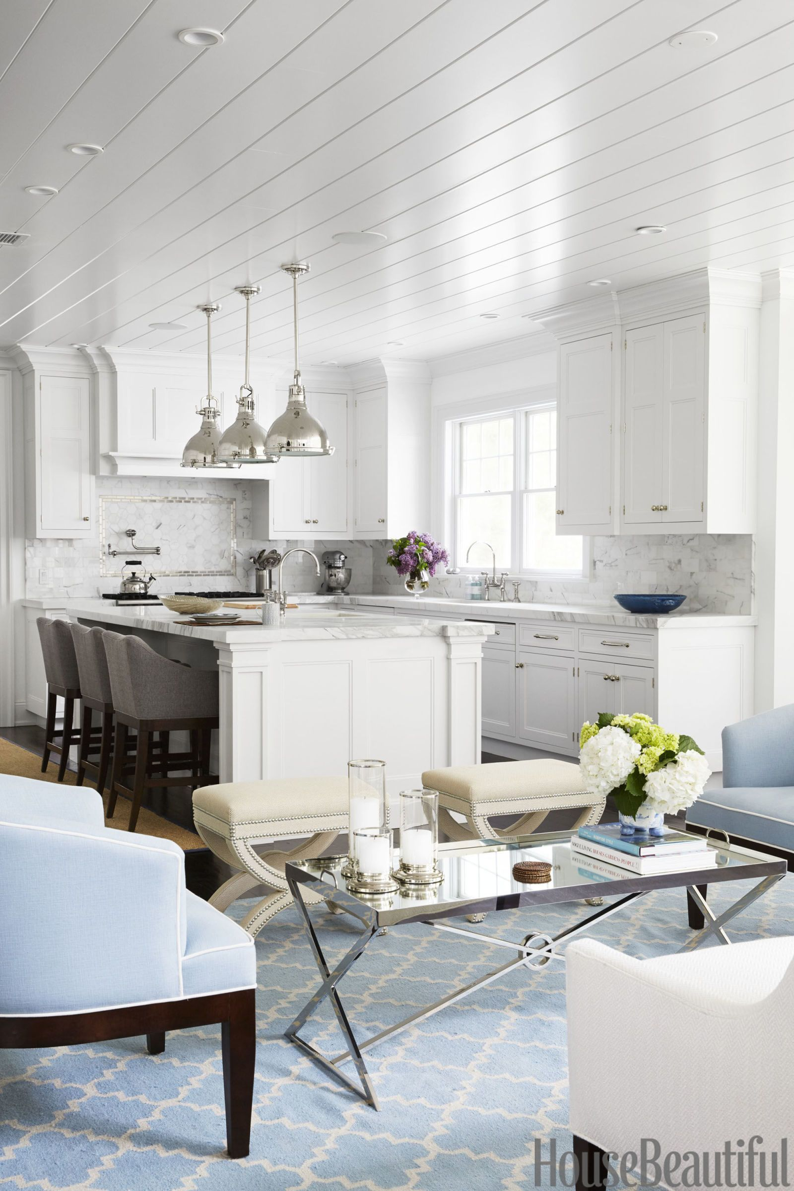 open kitchen living room floor plan pictures%0A Designer Libby Langon made this openconcept kitchen feel so much warmer by  adding an
