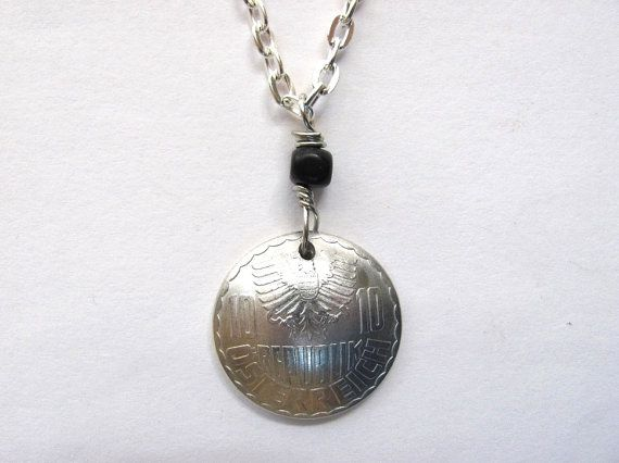 Coin Necklace Austria Osterreich 1966 10 Groschen Pendant Handmade Jewelry by Hendywood $18