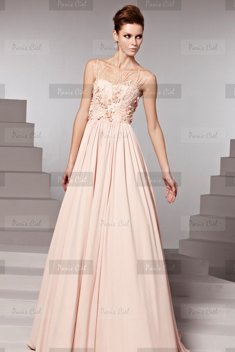 Pretty bateau long pearl pink evening dress paris ciel prom