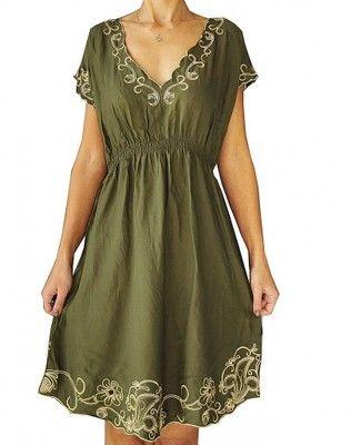 Atmosphere Zielona Sukienka Z Haftami 38 40 6565552362 Oficjalne Archiwum Allegro Casual Dress Fashion Short Sleeve Dresses