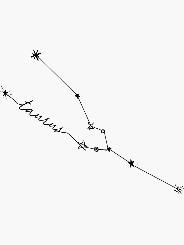 'Taurus Zodiac Constellation Drawing Sticker' Stic