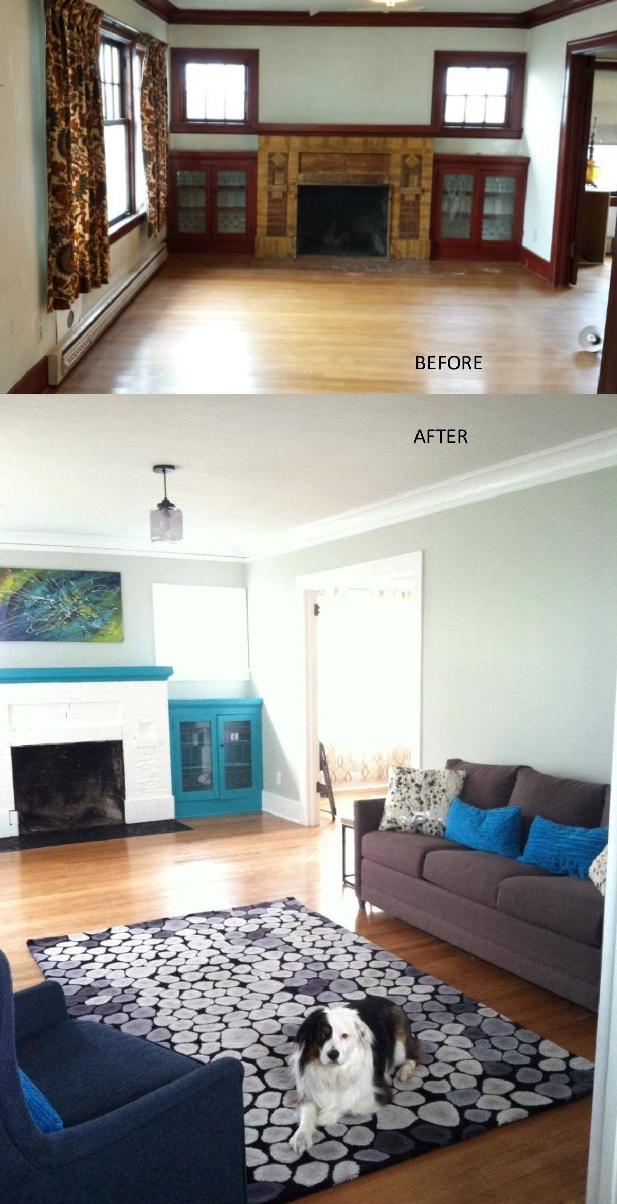 Before and after- Craftsman style living room- budget update ...