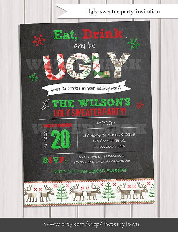 CHRISTMAS Ugly sweater invitation, holiday party invitation