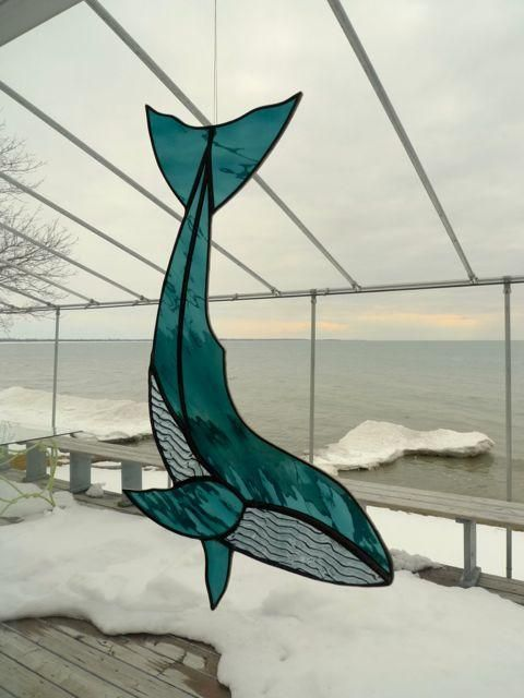 5 DOLPHINS SUN CATCHER 60 cm STAINED GLASS EFFECT with BEADS