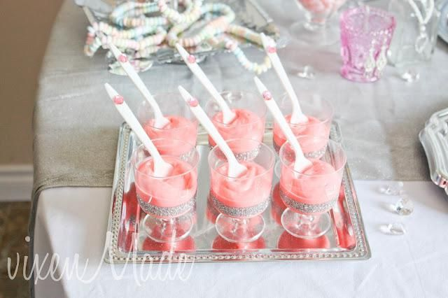 Girly Jewel Party- Vanilla pudding turned pink!