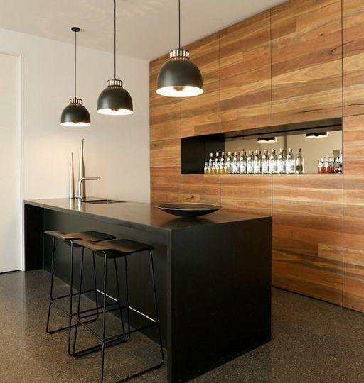35 cuisines ouvertes façon design Black wood, Kitchens and Bar - idee bar cuisine ouverte