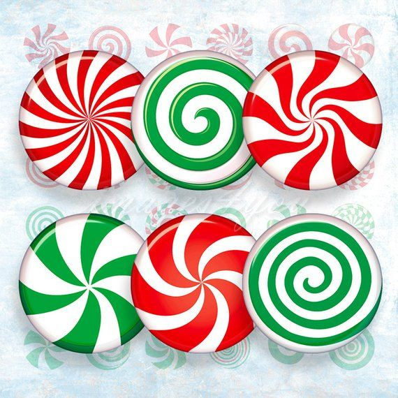 Candy Christmas.Peppermint Candy Christmas Digital Collage Sheet Bottle Cap