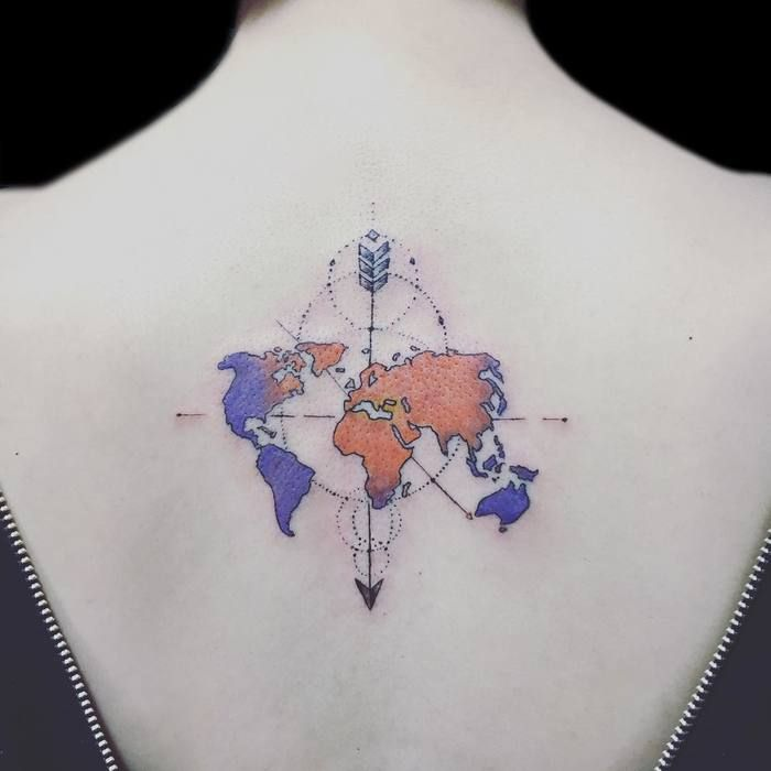 35 best world map tattoo ideas for travel lovers map tattoos world map tattoo by gashitattooer gumiabroncs Gallery