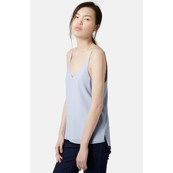 Topshop camisole Topshop v neck strappy camo in light blue Topshop Tops Camisoles